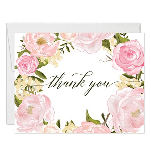 (Lovely Pink Peonies Wreath Thank You Cards with Envelopes ( Pack of 25 ) Beautiful Buds Thanks Birthday Baby Bridal Shower Baptism Christening Thank You Notes Excellent Value Gracias Notecards VT0046B)