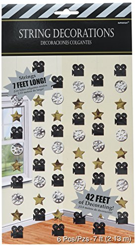 Amscan Black, Gold and Silver Hollywood Movie Themed Party String Decorations, Foil, 7 Feet, Pack of ()