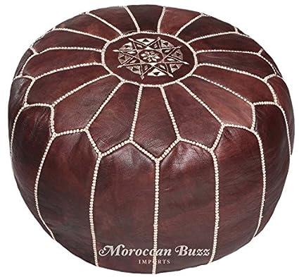 Strange Moroccan Buzz 18 Pound Premium Stuffed Leather Pouf Ottoman Brown Short Links Chair Design For Home Short Linksinfo