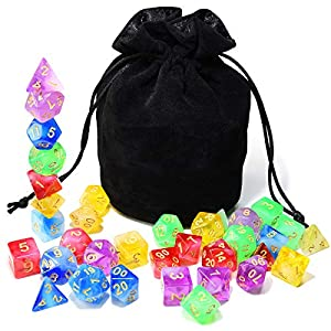 Assorted 5 Colors Polyhedral Dice Set Translucent with Black Drawstring Bag Great for Dungeons and Dragons DND RPG MTG Table Games