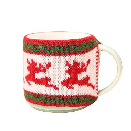 Brave669 [Christmas Decoration]-Christmas Snowflake Elk Xmas Tree Cup Mug Cover Sleeve Home Kitchen Table Decor