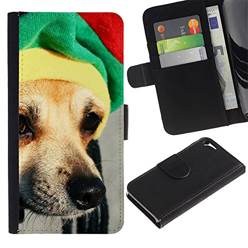 Billetera de Cuero Caso Titular de la tarjeta Carcasa Funda para Apple Iphone 5 / 5S / Rasta Hat Dog Chihuahua Muzzle Snout / STRONG