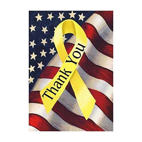fieldtree MEMORIAL DAY House Flag |THANK YOU Yellow Ribbon Outdoors Flags Of Double Sided Waterproof And Fade Resistant Printed banners 12.5 X 18 Inch 100% Polyester