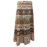 Mogul Interior Womans Wrap Skirt Animal Print Cotton Wrap Beach Dress L