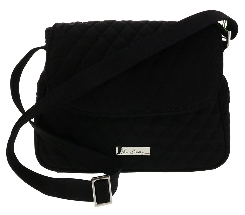 Vera Bradley Medium Flap Crossbody Shoulder Bag Handbag Purse Satchel Tote in Classic Black