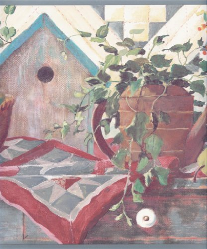 Wallpaper Border Birdhouse Watering Can Ivy Fruit Quilt