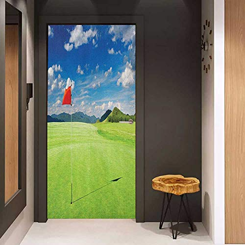 Onefzc Door Wallpaper Murals Sports Lunarable Golf Field with Flag in The Hole Clouds Sky Summertime Golfing Landscape WallStickers W36 x H79 Blue Red Lime Green - Lime Time Pearl