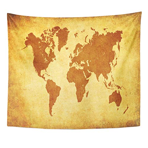 (Emvency Decor Wall Tapestry Yellow Abstract Brown World Map on Old Parchment Africa Aged America Wall Hanging Picnic for Bedroom Living Room Dorm 60x50 Inches)