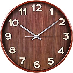 Large Decorative Wall Clock - Universal Non-Ticking Wall Clock - by Utopia Home (Dark Brown)