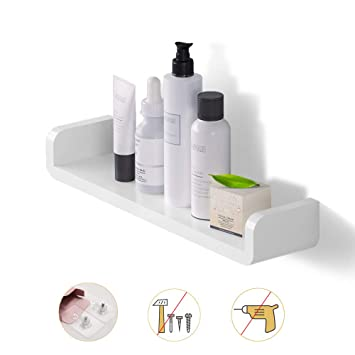 Laigoo Floating Shelf Wall Mounted Non Drilling U Adhesive Bathroom Organizer Display Picture Ledge Shelf For Home Decor Kitchen Bathroom