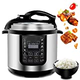 F2C 6-Quart 14-in-1 Multi-Use Auto Digital Programmable Pressure Cooker Canner Ricer Cooker Sauté Yogurt Maker Food Steamer Warmer Sterilizer Hot Pot For Families 4-6 People,BONUS Tempered Glass Lid