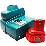 Makita 9v Battery Replacement (1300mAh,NICD) + Universal Charger for Makita Power Tool Battery and Charger - Compatible with Makita BMR100, Makita 9120, Makita 6222D, Makita 6226D, Makita 6503D