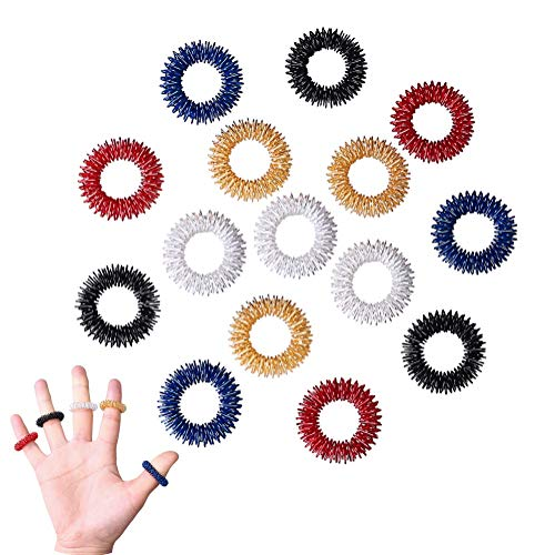 15 Pieces Massage Rings, Acupressure Finger Ring Set for Kids Teens Adults (5 Colors)