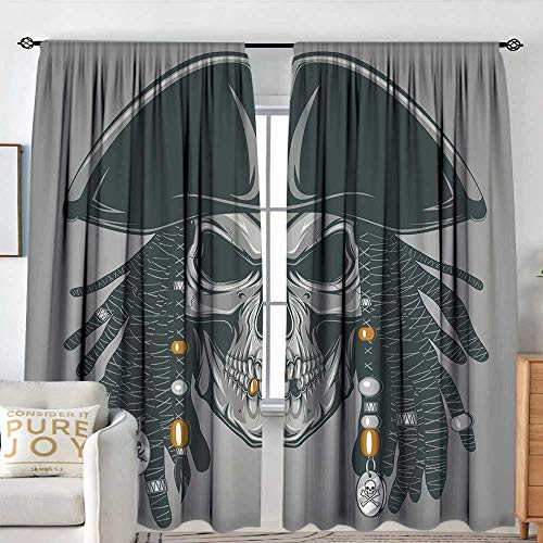 - Petpany Window Blackout Curtains Pirate,Cruel Evil Dead Man Skull Corsair with Rasta Hair and Iconic Hat Filibuster,Grey Black White,for Room Darkening Panels for Living Room, Bedroom 100