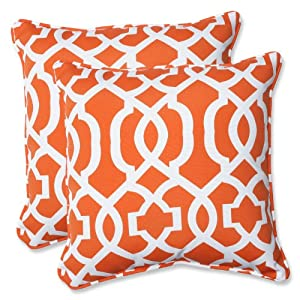 Pillow Perfect Outdoor New Geo Throw Pillow, 18.5-Inch, Orange, Set of 2 from Pillow Perfect