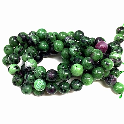 Chengmu 8mm Epidote Beads Natural Gem Round Loose Beads for Jewelry Making for Bracelet - Very Rare Green Rough