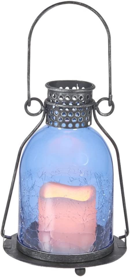 Smart Design 84070-LC Home and Garden Monaco 9-Inch LED Candle Lantern, Blue, Metal Lantern Suitable for Both Indoor and Outdoor Use with Three Way Switch for On, Off, and Timer Settings