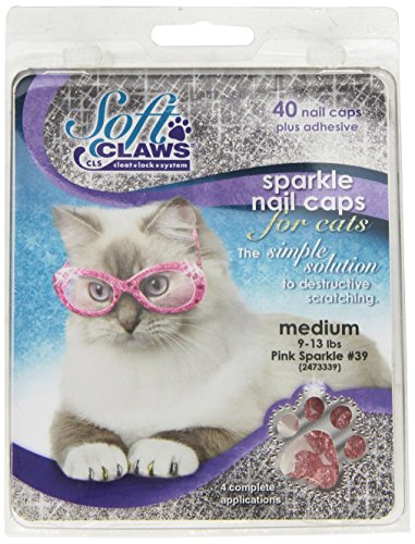 Soft Claws Nail Caps - Feline Soft Claw Nail Caps, Medium, Pink Sparkle
