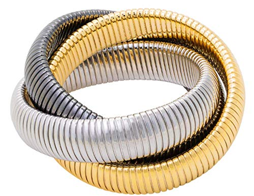 (JANIS BY JANIS SAVITT Triple Cobra Bracelet Triple Cobra Bracelet - High Polished 18K Yellow Gold, Gunmetal, and)