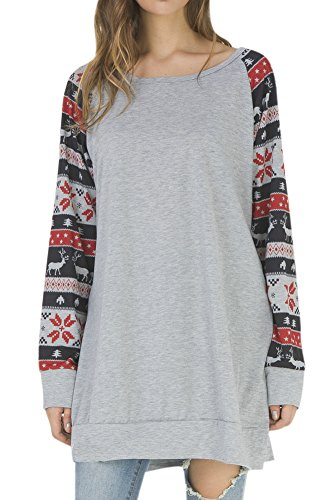 Women Stripe Xmas Shirts Longsleeve Christmas Color Block Casual Tunic Blouse Tops Black L Xmas Top