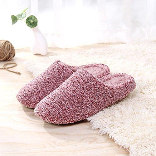 Fankou autunno caldo inverno uomini e donne matura home soggiorno con un pantofole di cotone felpato interno pavimenti in legno di spessore soggiorno ,M (35-38), il vino è di colore rosso