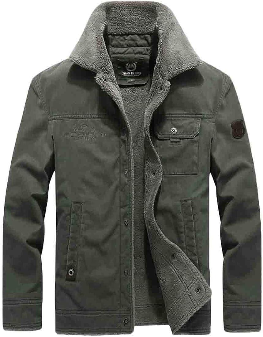 XQS Mens Winter Fur Collar Button Cargo Jacket Outwear Winter Coat