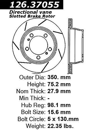 Amazon Com Centric Parts Power Slot Disc Brake Rotor 126 37055