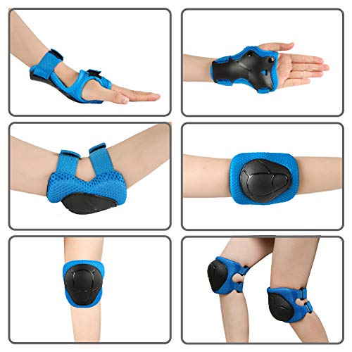 Knee Pads for Kids Toddler Knee Pads and Elbow Pads Set with Wrist Guards 3 in 1,Children Protective Gear Set for Skating Riding Cycling Biking Rollerblading Scooter(3-8 Years),Blue