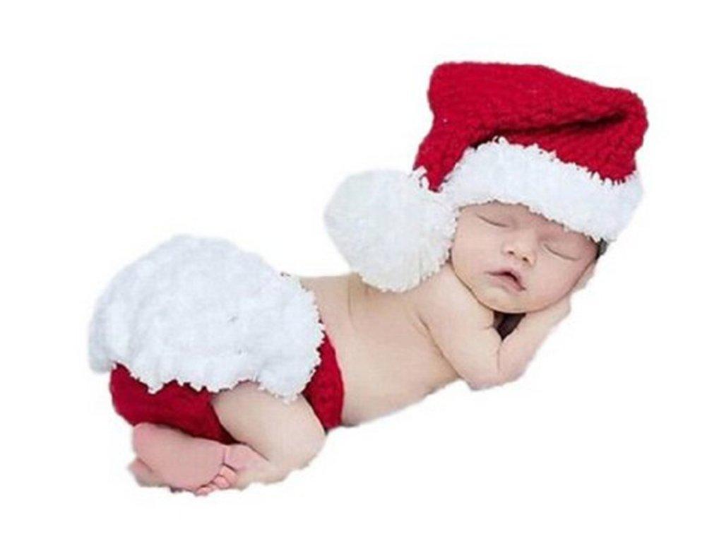 Qingsun Cute Newborn Baby Infant Christmas Photography Props Clothes Set Baby Handmade Crochet Beanie Hat Pants