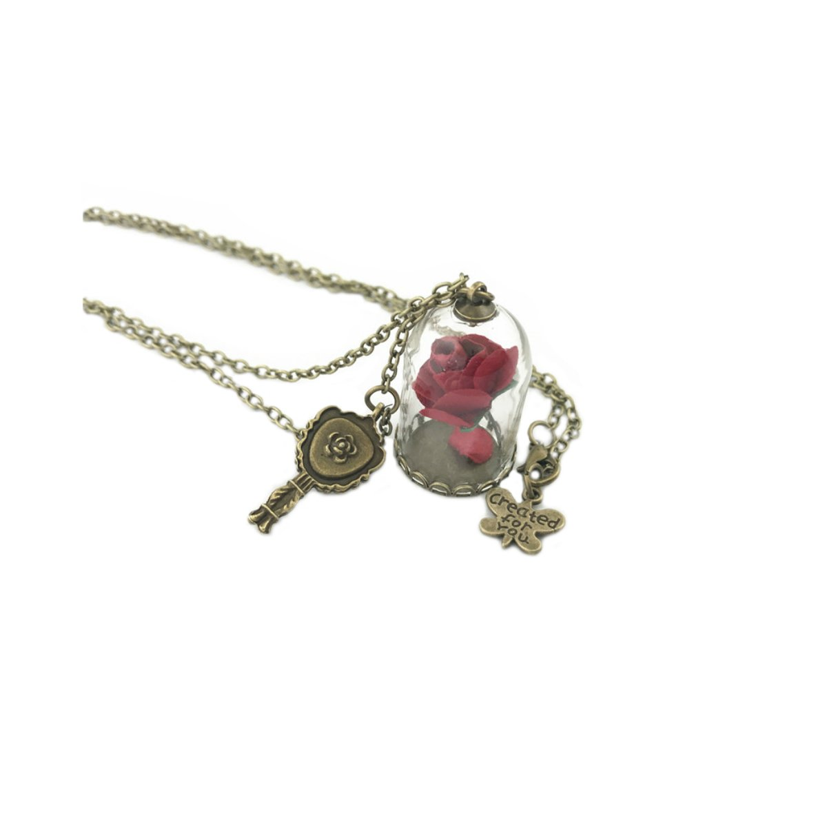 Disney's Beauty and the Beast Necklace Pendant - Rose Charm - Classic Movies Cosplay by Athena Brand