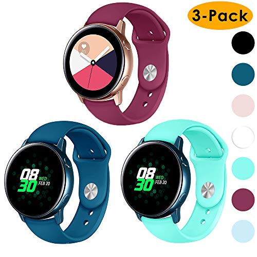 EZCO 3-Pack Compatible Samsung Galaxy Watch Active Bands/Galaxy Watch 42mm/Gear Sport Bands, 20mm Soft Waterproof Silicone Sport Watch Strap Replacement Wristband Compatible Galaxy Watch 42mm R810 ()