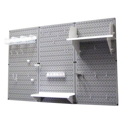 Wall Control 30-WRK-400 GW Pegboard Organizer 4' Metal Standard Tool Storage Kit with Gray Tool Board and White Accessories