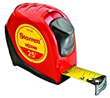 Starrett KTX1-25-N-SP01 Exact Tape Measure, 1'' Wide x 25', Graduated in 1/16'', with Over molding for Improved Grip