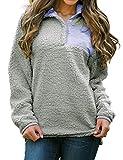 Nlife Women Casual Long Sleeve Sweatshirt Tops Pullover Sweatshirt Fleece Blouse Shirt