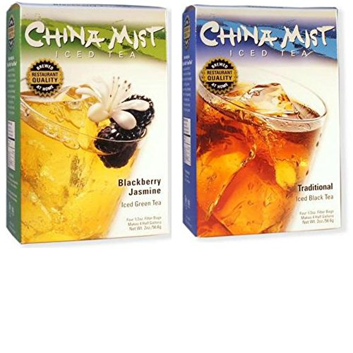 China Mist Tea 2-Pack Bundle - Blackberry Jasmine Iced Green Tea & Traditional Black Iced Tea (Green Mist Tea China)