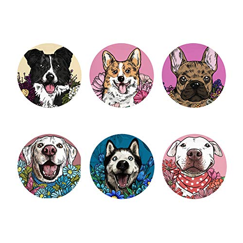 Mumeson Rubber Coasters for Drinks Dog Design Beverage Coaster Set of 6 Moisture Absorbent Tableware for Cup Glass Coffee Gift, Border Collie,Shiba inu,Bulldog,Labrador,Husky,Pit Terrier