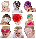 Hip Mall Cute Baby Headband and Bows Newborn Hair Band Lot Set of 9