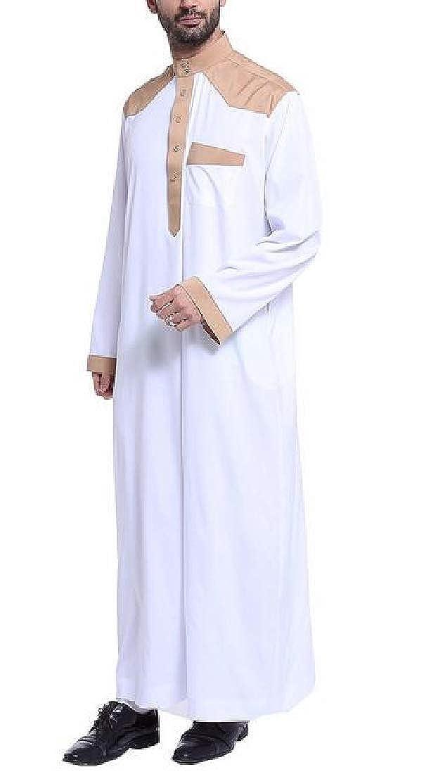 GRMO Men Color Block Loose Long Sleeve Long Muslim Arab Thobe Kaftan Robes