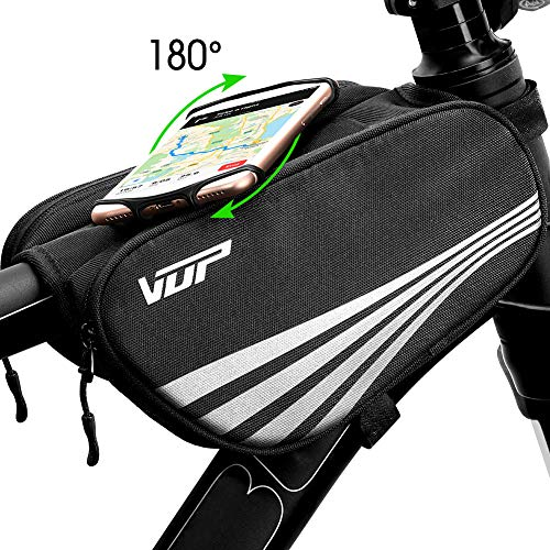 VUP Bike Bag for Top Tube, Bicycle Front Tube Frame Bags w/Open-face 180
