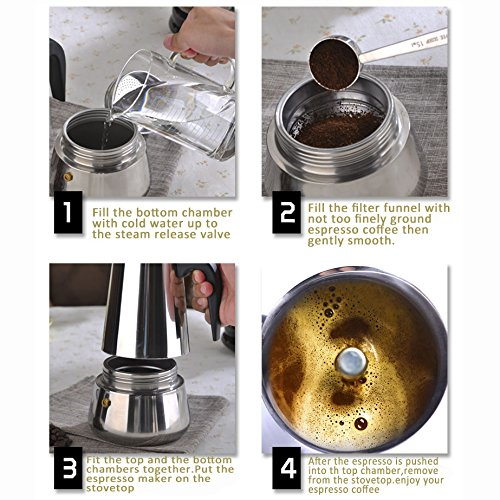 Stovetop Stainless Steel 4 Cup Moka Pot, Espresso Maker Come with 4.72 inch Heat Resistant Moka Trivet and 5 Different Color Coffee Spoon