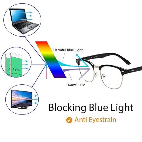 Cyxus Blue Light Blocking [Semi-Rimless] Computer Glasses, Anti UV Eye Strain Clear Lens Reading Video Eyewear, Men/Women by Cyxus (Image #1)