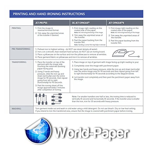 INKJET TRANSFER PAPER FOR DARK FABRIC: NEENAH ''JET OPAQUE II'' (8.5''X11'') 50NKJET TRANSFER PAPER FOR DARK FABRIC: NEENAH ''JET OPAQUE II'' (8.5''X11'') 50Pk :) by JET-OPAQUE® II Neenah Paper (Image #5)