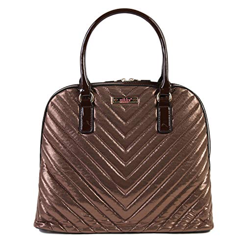 Nikky Quilted Metallic Brown Satchel Bag for Women with Zipper Closure Shoulder, Bronze, One Size