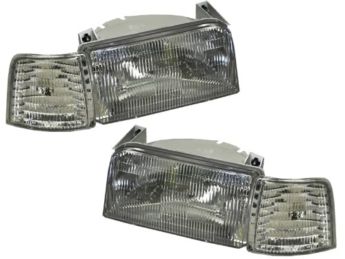 HEADLIGHTSDEPOT Compatible with Ford F150-F250/Bronco 4-Piece Headlights Set w/Signal Lights