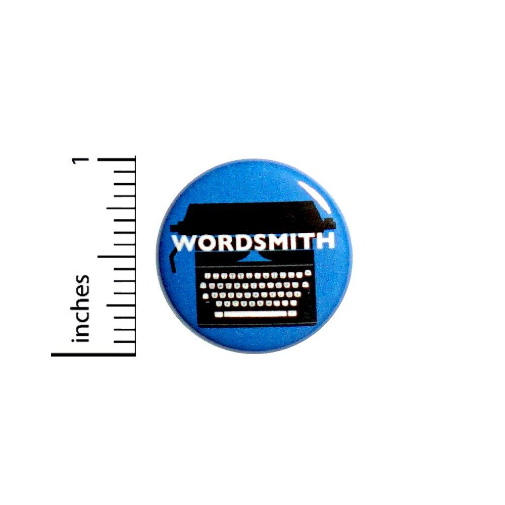 Typewriter Button Pin Writer Gift Wordsmith Cute Blue Jacket Pinback 1' #56-18 Outerspacebacon