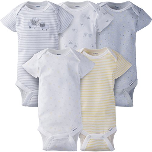Gerber Baby 5-Pack Short-Sleeve Onesies, Little Lamb, Newborn