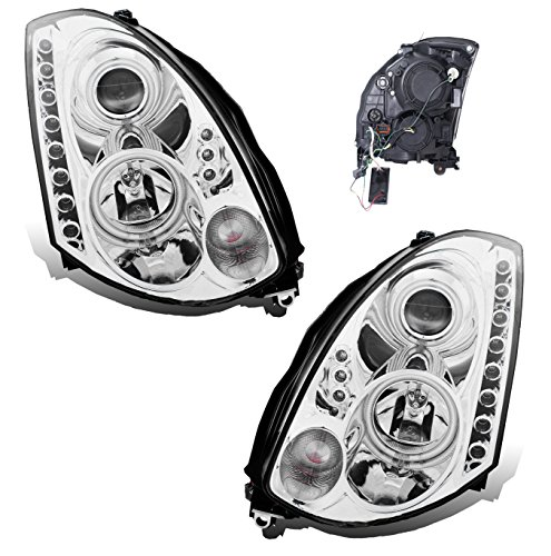 Headlight Left Door - SPPC Headlights Chrome Projector (Hid Compatible and CCFL Halo) Assembly Set For Infiniti G35 2 Door - (Pair) Driver Left and Passenger Right Side Replacement Headlamp