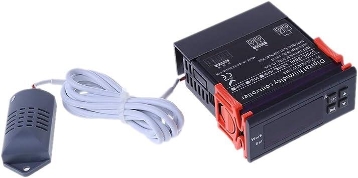 Haijun Controlador de humedad digital Rel/é de higrostato Interruptor de control de higr/ómetro AC 220V