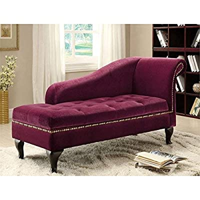 Furniture of America Emma Leatherette Storage Chaise/Lounger