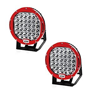 Xprite 96 Watt 9-inch Cree LED Fog Spotlight and Round Work Lamp with Roof Bar Bumper (2-Pack, Red)